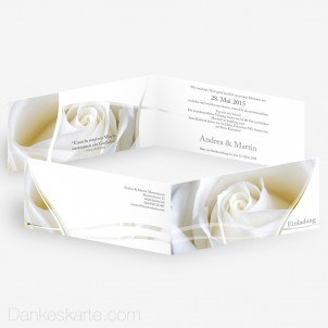 Hochzeitseinladung Semi Rose 21 x 10 cm