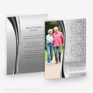 Hochzeitseinladung Damast One Silber 15 x 21 cm