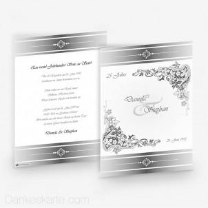 Hochzeitseinladung Royal Silber 15 x 21 cm