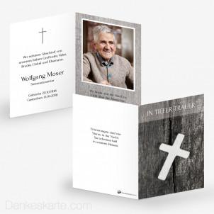 Sterbebild Weisses Kreuz 7 x 10 cm