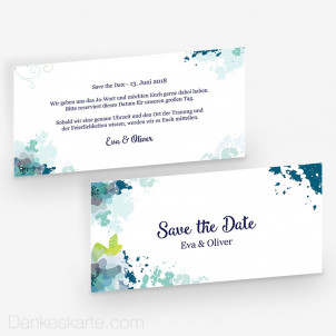 Save-the-Date Aquarellblumen 21 x 10 cm