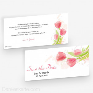 Save-the-Date Aquarelltulpen 21 x 10 cm