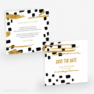 Save-the-Date Black and Gold 14.5 x 14.5 cm