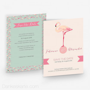 Save-the-Date Flamingo 15 x 21 cm