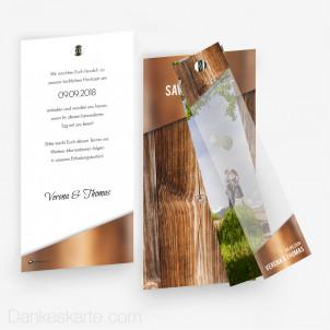 Save-the-Date Glas und Holz mit Fotostreifen 10 x 21 cm