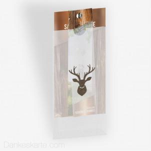 Save-the-Date Glas und Holz mit Fotostreifen, Fingerkuvert und Lasercut Hirschkopf 10 x 21 cm
