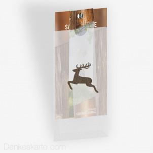 Save-the-Date Glas und Holz mit Fotostreifen, Fingerkuvert und Lasercut springender Hirsch 10 x 21 cm
