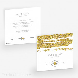 Save-the-Date Golden Glitter 14.5 x 14.5 cm