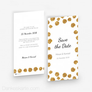 Save-the-Date Goldschimmer 1 10 x 21 cm