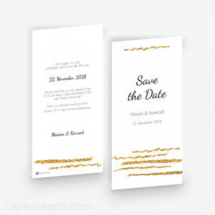 Save-the-Date Goldschimmer 4 10 x 21 cm