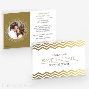 Save-the-Date Goldstück 15 x 10 cm