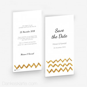 Save-the-Date Goldschimmer 3 10 x 21 cm