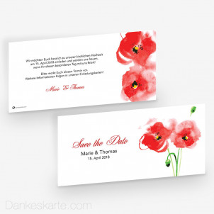 Save-the-Date Mohnblumen 21 x 10 cm