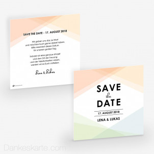 Save-the-Date Pastellgeometrie 14.5 x 14.5 cm