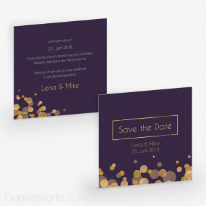 Save-the-Date Purple Gold 14.5 x 14.5 cm