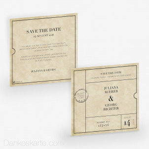 Save-the-Date Theater Ticket 14.5 x 14.5 cm