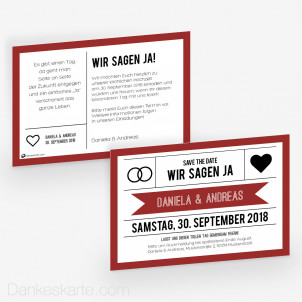 Save-the-Date Wedding Ticket 15 x 10 cm