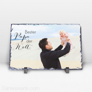 Fotoaufsteller Bester Papa aus Stein 29 x 19 cm