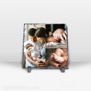 Geburtstafel in Szene gesetzt aus Stein 19 x 19 cm