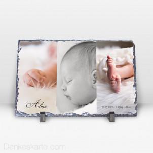 Geburtstafel in Szene gesetzt aus Stein 29 x 19 cm