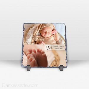 Geburtstafel Zeitlos Schön aus Stein 19 x 19 cm