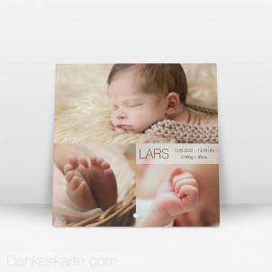 Geburtstafel Bilderreich aus Echtglas 20 x 20 cm