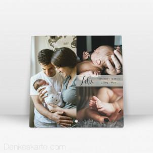 Geburtstafel in Szene gesetzt aus Echtglas 20 x 20 cm