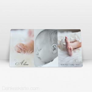 Geburtstafel In Szene Gesetzt aus Echtglas 27.5 x 14.5 cm