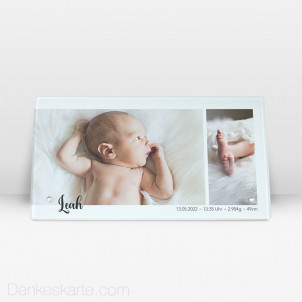 Geburtstafel Klares Design aus Echtglas 27.5 x 14.5 cm