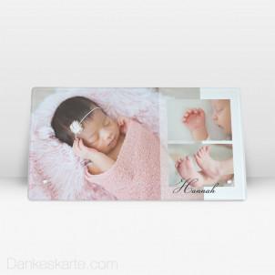 Geburtstafel Klassiker aus Echtglas 27.5 x 14.5 cm