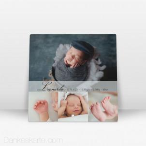 Geburtstafel Lolith aus Echtglas 20 x 20 cm