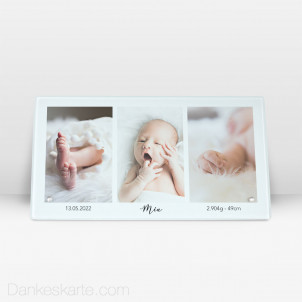 Geburtstafel Polaroid Stil aus Echtglas 27.5 x 14.5 cm
