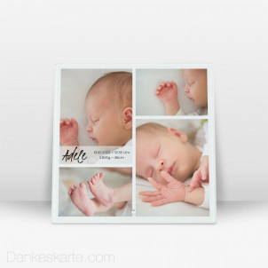 Geburtstafel Vielfalt aus Echtglas 20 x 20 cm