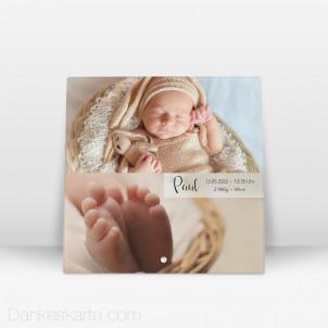 Geburtstafel Zeitlos Schön aus Echtglas 20 x 20 cm