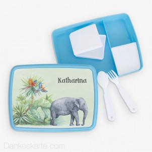 Jausenbox/Brotdose Safari 1 23 x 18 cm - blau
