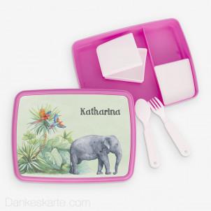 Jausenbox/Brotdose Safari 1 23 x 18 cm - pink
