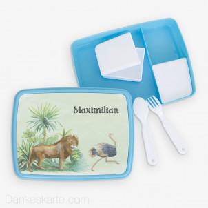 Jausenbox/Brotdose Safari 2 23 x 18 cm - blau