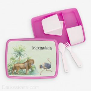 Jausenbox/Brotdose Safari 2 23 x 18 cm - pink