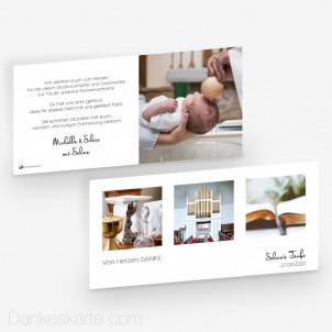 Dankeskarte Taufe Klares Design 21 x 10 cm