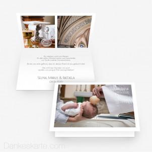 Dankeskarte Taufe Minimalistisch 15 x 10 cm Vertikalklappkarte