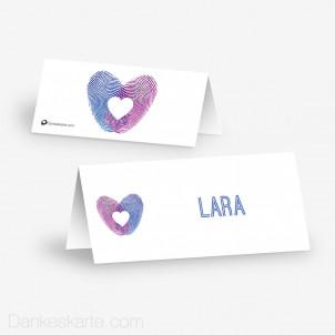 Tischkarte Aufsteller Fingerabdruck Herz 10 x 4.5 cm