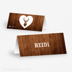 Tischkarte Aufsteller Hirsch mit Herz 10 x 4.5 cm