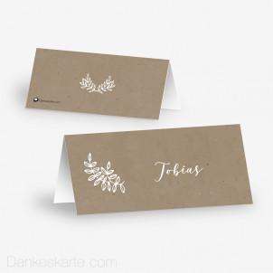 Tischkarte Aufsteller Kraftpapier Eleganz 10 x 4.5 cm