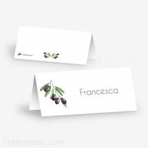 Tischkarte Aufsteller Olivenzweige 10 x 4.5 cm