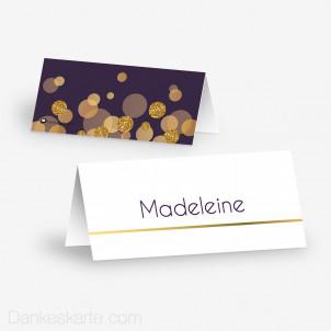 Tischkarte Aufsteller Purple Gold 10 x 4.5 cm