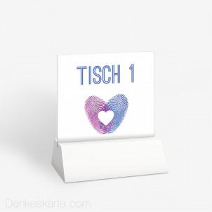 Tischnummer Fingerabdruck Herz 10 x 9 cm