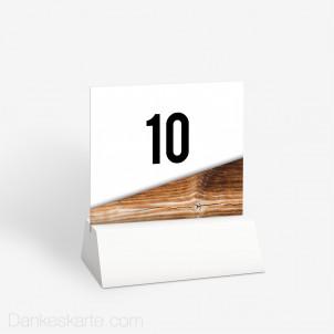 Tischnummer Glas und Holz 10 x 9 cm