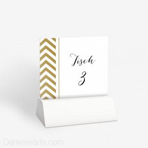 Tischnummer Gold Zick Zack 10 x 9 cm