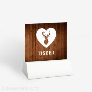 Tischnummer Hirsch mit Herz 10 x 9 cm