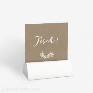 Tischnummer Kraftpapier Eleganz 10 x 9 cm